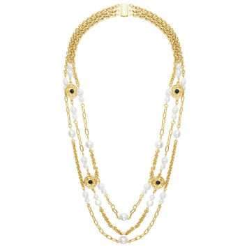 Pearls and Coins Triple Strand Long Necklace