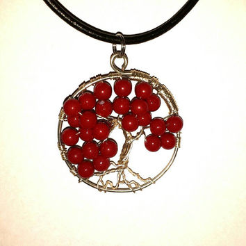 Red Bead tree of life pendant Copper wire pendant Family-Tree necklace gift with Black Leatherette Necklace