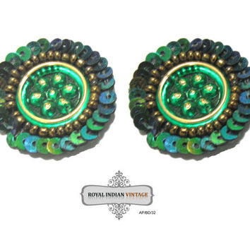 Indian Craft Beaded Applique Sewing Dress Green Patch Costume Round Shape Applique 10 Pcs AP/BD/32
