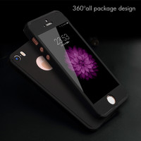 For iPhone 5S Case 360 Degrees Full Body Mobile Phone Back Cover With logo hole design shell cases for Apple 6 6s Plus 5 SE
