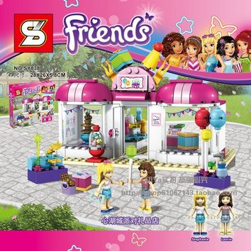 Heartlake Party Shop 202pcs Friends Set Emma Stephanie Mia Olivia Andrea Building Block Toy Girls 41132 Compatible With Lego