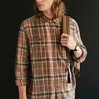 Stapleford Trenton Washed Flannel Button Down Shirt- Coral