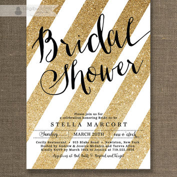 Best sparkly invitations products on wanelo black gold bridal shower invitation white and gold glitter str filmwisefo