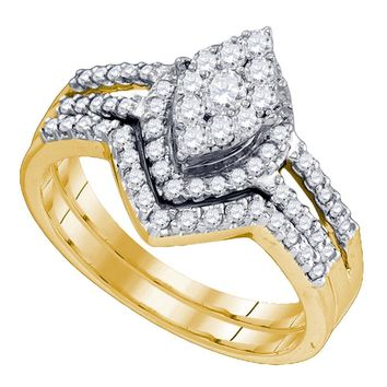 10kt Yellow Gold Womens Round Diamond Oval Cluster Bridal Wedding Engagement Ring Band Set 3/4 Cttw