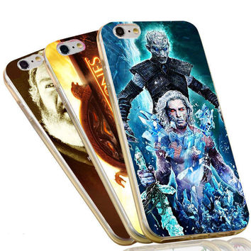 The Game of Thrones Jon Snow Stark Wolf Night King Case For iPhone 4 4S 5C 5 5S SE 6 6S 7 Plus Soft TPU Phone Cover