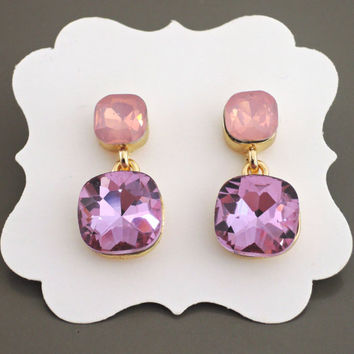 Crystal Earrings - Gold Earrings - Pink Earrings - Opal Earrings - Rhinestone Earrings - Stud Earrings - handmade jewelry