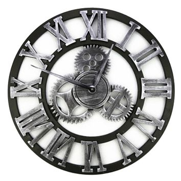 Super Big Vintage Gear Hang Wall Clock silver with Roman digit