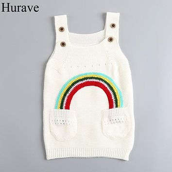 Fashion girl clothes Spring solid color children knit vest dress girl sweater rainbow pattern