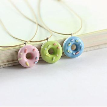 Fashion Cute Lovely Donuts Fresh Ceramic Pendant Necklace For Students Girl BBF Best Friends Handmade Resin Charm Jewelry Gift