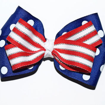 4th of July Hair Bow , Memorial Day Bow , Patriotic Hair Bow , Red White and Blue Hairbow , Blue Polka Dot Bow , Baby 4th of July , 4 1/2 in