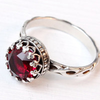 Ruby ring, sterling silver with Red Swarovski Ruby crystal, vintage style, floral band, 8 mm crown setting, July birthday birthstone