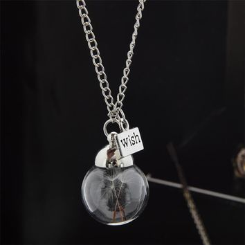 SHUANGR Airy Real Dandelion Necklace Make One Wish Real Dandelion Crystal Necklace Glass Round Silver Choker Necklace WISH Charm