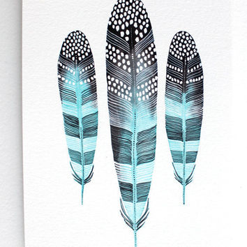 Feather Art Watercolor Painting Spring Home Decor by RiverLuna