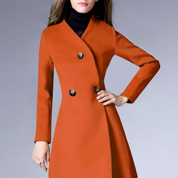 Solid Color Double-Breasted Wool Coat