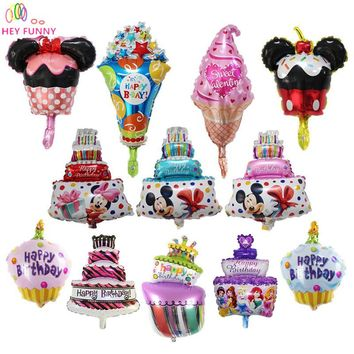 HEY FUNNY 5 pcs/lot Kids Birthday Foil Balloons Party Decor&Baby Shower Candy Cake Globos Mickey Cake Inflatable Ball Kids Toy