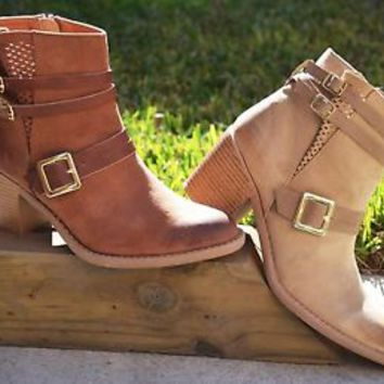Women's Ankle Boots Chunky Heel Shoes Zip Up Almond Toe Buckle Booties New