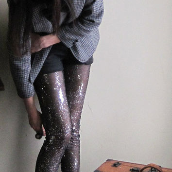 Sequin stars leggings - cosmic sheer black embellished sequin and glitter - large