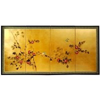 Elegant Simple Sumi-e Paintings - 72` Japanese Cherry Blossom Design Gold Leaf Wall Screen Painting...