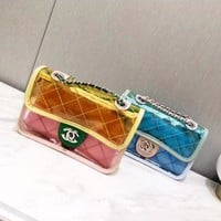"""Chanel"" Fashion Pvc Transparent Multicolor Quilted Jelly Single Shoulder Messenger Bag Women Chain Small Square Bag Set Two-Piece"