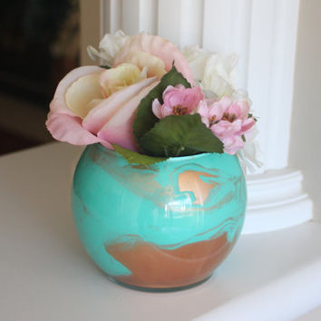 Painted Glass Vase, Gold Vase, Aqua Vase, Turquoise Vase, Beach Accents, Beach Decor, Gold Centerpiece, Ocean Decor, Round Vase, Gift