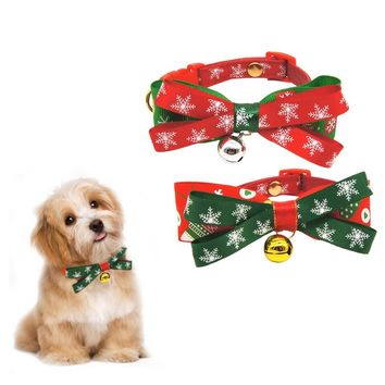 Collars for Dog Christmas Gift Pet Collar with Bell Pet Supplies Ribbon Bowtie Design for Large Medium Small Cat Dog Accessories