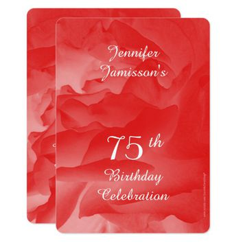 75th Birthday Party Invitation, Coral Pink Rose Invitation