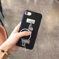Necklace tassel phone case for iPhone 7 case 7plus Black leather sell for apple iPhone 6s case 6 6plus 7 7plus for iphone cases-04410