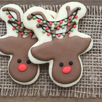 Christmas Party Favors / Christmas Sugar Cookies / Christmas Gifts for Teachers / Gift Basket Ideas / Rudolph Sugar Cookies  - 12 cookies