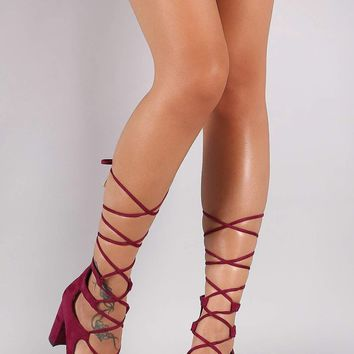 Breckelle Suede Lace-Up Chunky Heeled Pump