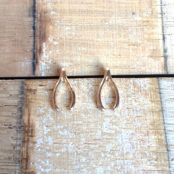 Gold Wishbone Earrings, Good luck Earrings, Wishbone Studs, Perfect Dainty Good Luck Earrings