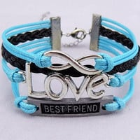 infinity  love bracelet  best friend bracelet gift for girlfriend gift for friends multistrand leather bracelet with Antique Silver charms