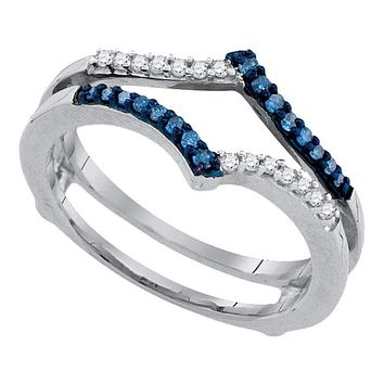 10kt White Gold Women's Round Blue Color Enhanced Diamond Ring Guard Wrap Enhancer Band 1/5 Cttw - FREE Shipping (US/CAN)
