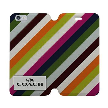 COACH NEW YORK STRIPE Wallet Case for iPhone 4/4S 5/5S/SE 5C 6/6S Plus Samsung Galaxy S4 S5 S6 Edge Note 3 4 5