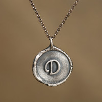 Alphabet necklace, Personalized Monogram Charm, Letter Necklace in sterling silver, Wax seal stamp, Initial D Necklace