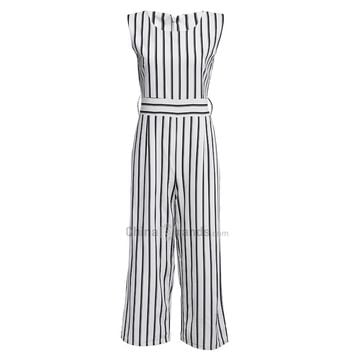 Trendy Round Collar Sleeveless Zipper Striped Pocket Loose Straight Jumpsuit for Women