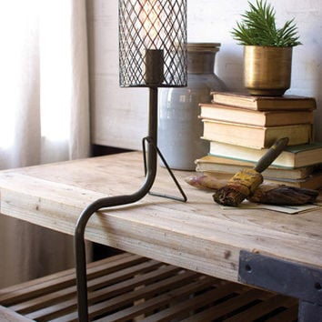 Metal Desk Lamp with Wire Mesh Shade