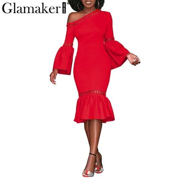 Glamaker One shoulder flare sleeve party dress Women ruffle mermaid sexy midi dress Female hollow out winter long dress vestidos