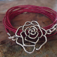 ROSE RED wrap bracelet with rose from Tibet silver by AsaiBolivien US$  8,90