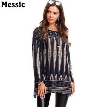 Messic Women Bohemia T-Shirt Ethnic Retro Shirt 2018 Summer Casual Long Sleeve Swing Tunic Top Floral Style Hipster Beach Shirts