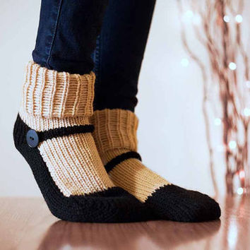 Knit Slipper Sock Adult Maryjane Slipper Sox Ecru Beige House Slippers Womens Slippers Home Slippers Black House Shoes Home Shoes