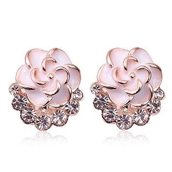 Enamel Flower Rhinestone Stud Earrings