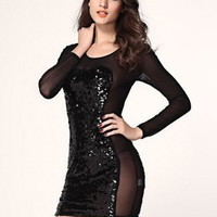 Sequined Mesh Embroidered Long Sleeve Mini Bodycon Dress