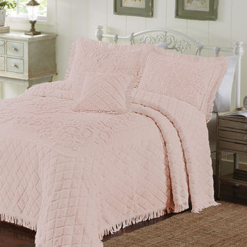Twin size Rose Pink Chenille Bedspread in 100-percent Cotton