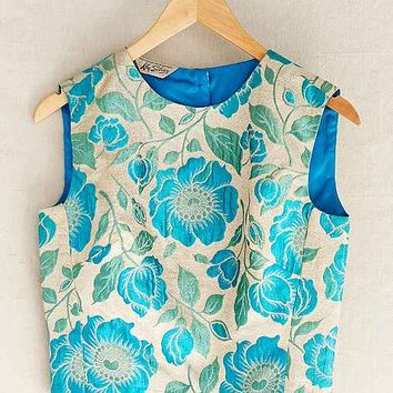 Vintage Blue Brocade Cropped Top- Assorted One