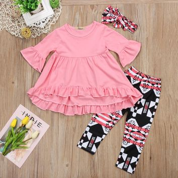 3 Pcs Toddler and Girls Ruffle Top, Leggings and Matching Headband Set - 2 Colors