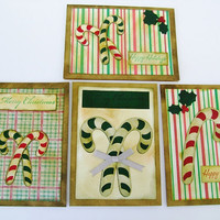 Candy Cane Christmas Greeting Cards, Set of 4 Christmas Cards, OOAK Handmade, hand inked, vintage inspired