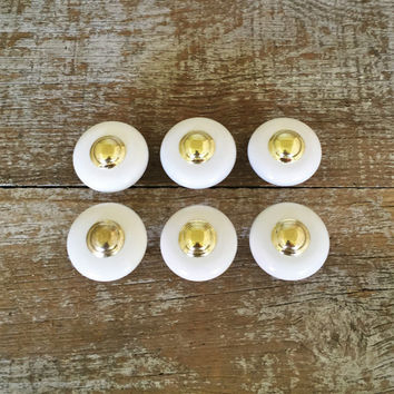 Drawer Knobs 6 Drawer Pulls Ceramic and Brass Knob Mid Century Hardware Dresser Drawer Knobs Cabinet Door Pulls Hollywood Regency Hardware