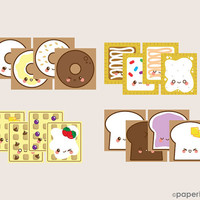 Breakfast Toaster Kit - Printable Paper Toy Craft by Paperholic - Kawaii Cute