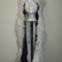 Adult White Faux Fur Hood Wolf Hat With Attached Scarf And Mittens