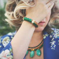Green Grass Agate and real leather cord bracelet by Pardes